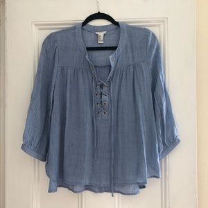 chambray lace up top